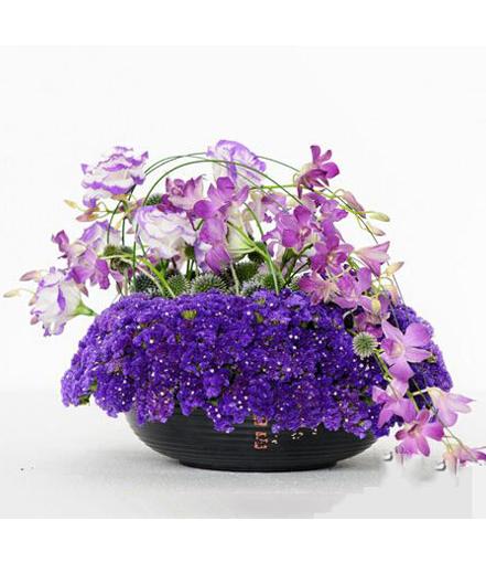紫色流动感桌花商务鲜切花